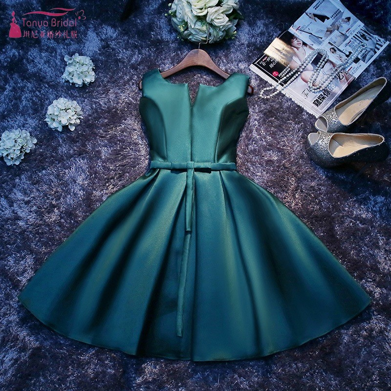 Silver Bridesmaid Dresses Short Knee Length Green Elegant Wedding Guest Dress New Year Eve Dress Wedding Party For Women JQ28