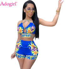 Adogirl Floral Print Women's Tracksuit Summer Two Piece Set Hollow Out Spaghetti Straps Crop Top + Shorts Cheap Fashion Outfits недорого