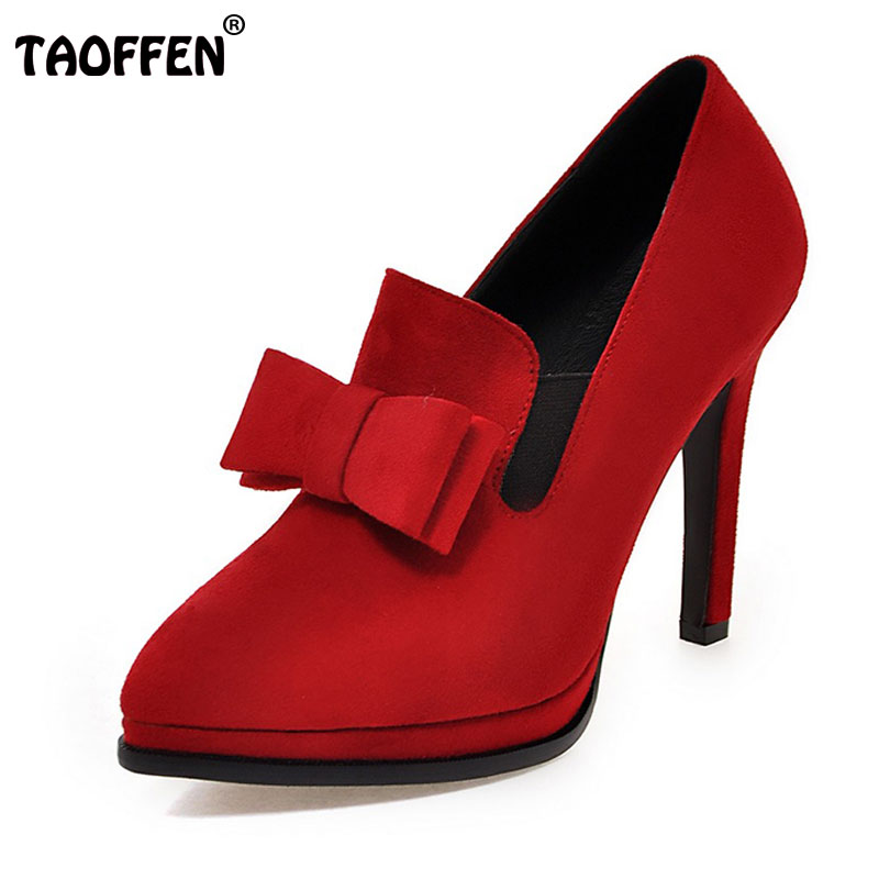 TAOFFEN Size 34-43 New High Heels Shoes Women Pumps Bowtie Sexy Pointed Toe Shoes Thin Heels Slip-On Soft Pumps Sweet Footwear kz zs3 in ear hifi earphone 3 5mm jack stereo mobile earbuds running sport earphone fone de ouvido for iphone samsung xiaomi xao