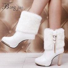 BANGJIAO/шикарные ботинки на высоком каблуке с кроличьим мехом; женская плюшевая теплая обувь на платформе; элегантная женская свадебная обувь на высоком каблуке со стразами