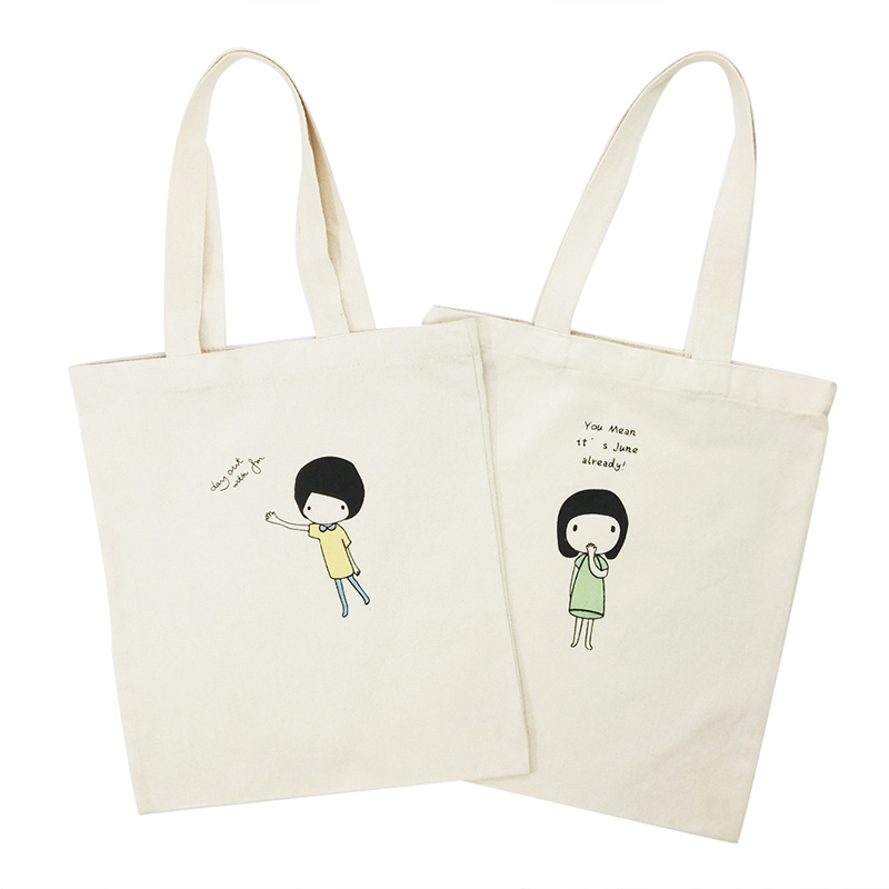 Cartoon Printed Canvas Female Shopping Bag Fashion Foldable Girl Shoulder Reusable Green Tote