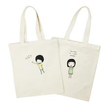 цена на Cartoon Printed Canvas Female Shopping Bag Fashion Foldable Girl Shoulder Bag Reusable Green Shopping Bag Tote
