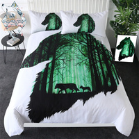 First Hunt by Scandy Girl Bedding Set Animal Wolves Comforter Cover Wolf in the Forest Bed Cover Green White Home Textiles 3pcs