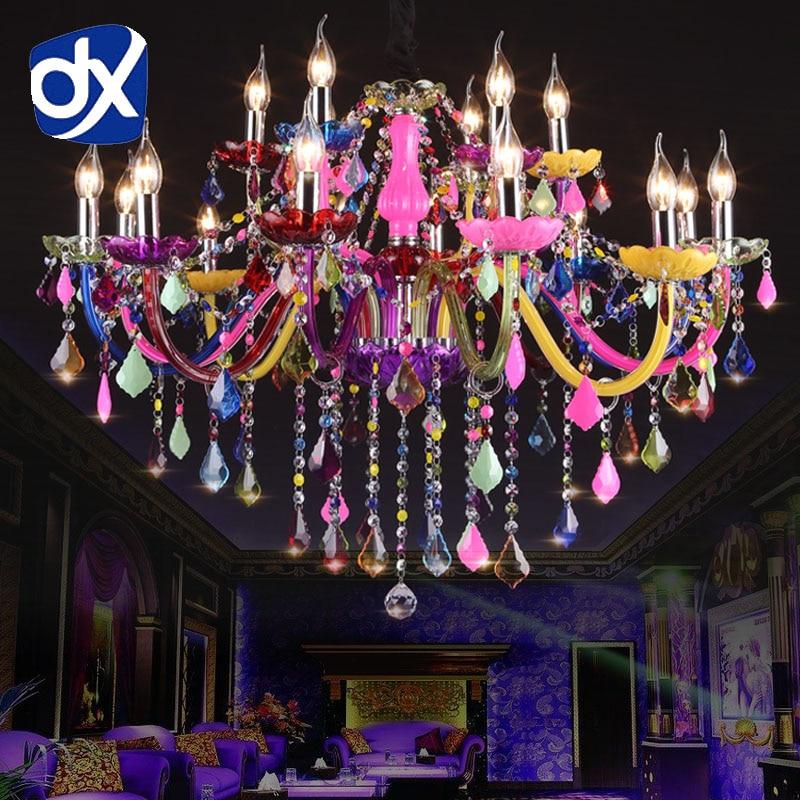 DX Colorful Crystal Chandelier Lighting Lustre Crystal