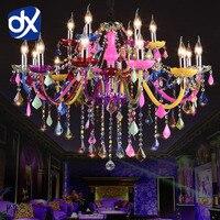 DX Colorful Crystal Chandelier Lighting Lustre Crystal Chandelier Romantic Crystal Chandelier Modern Kitchen Chandelier Light
