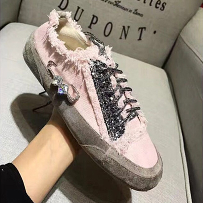 YD-EVER daimond Women casual shoes shiny bling canvas shoes sneakers sweet  flats breathable spring genuine leather shoes 02a9921e01e3