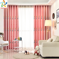 Dreamwood Environmentally Friendly Embroidered Carton Window Curtain High Quality Ctton And Linen Mixed Blackout Curtain Design