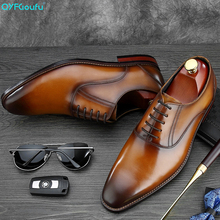 QYFCIOUFU Italian Style Men Formal Dress Shoe Brand Genuine Leather Comfortable Wedding Shoes High Quality Suit Flats