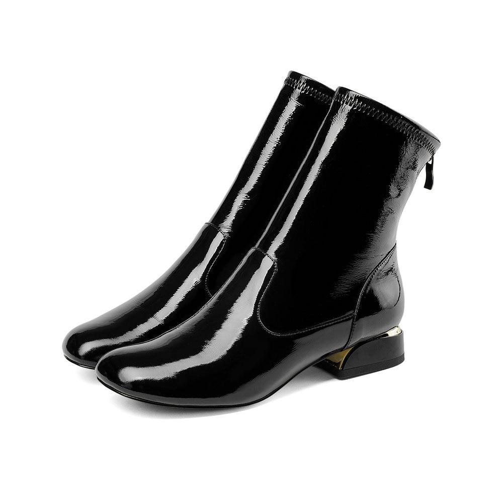 d5858ccb415458 Talon Plate black Talons forme Automne Noir Femme Pour Bas Chaussures  Aiweiyi Cuir Rond Épais Blanc Femmes Hiver En Verni Bottes Bout Cheville ...