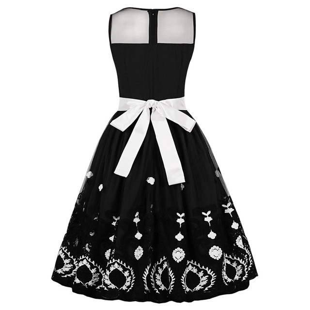 Wipalo Retro Semi-Sheer Mesh Insert Embroidered Pin Up Dress Vintage Halloween A-Line Party Dress With Bowknot Sashes Vestidos