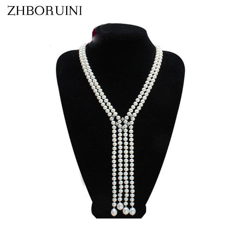 ZHBORUINI Long Necklace Natural Freshwater Pearl Tassel Pearl Necklace Sweater chain 925 sterling silver Jewelry For Women exquisite faux pearl embellished multi layered alloy sweater chain necklace for women
