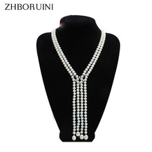ZHBORUINI Long Necklace Natural Freshwater Pearl Tassel Pearl Necklace Sweater chain 925 sterling silver Jewelry For Women
