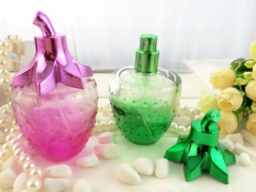 100pcs wholesale empty sub-bottling 100ml strawberry glass perfume bottle ,hot sale 100 ml glass spray Perfume bottles dedicated