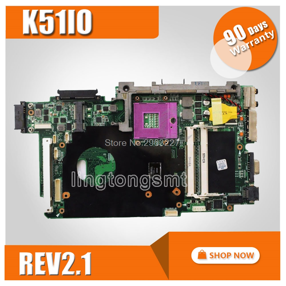For ASUS K51IO X66IC K61IC K70IO laptop Motherboard REV:2.1 PM45 Chipset DDR2 Mainboard 100% Tested