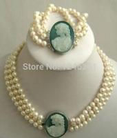 Selling Jewelry>>>Natural 3 row 7 8mm White Akoya Pearl Cameo Necklace Bracelet Beads Jewelry Set Making Natural Stone 18inch