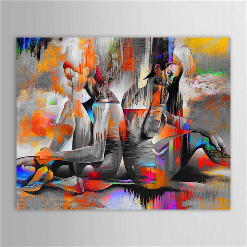Unframed Handwork Canvas Oil Paintings Abstract Nude Girls Painting for Living Room Bedroom Decor Original Artwork