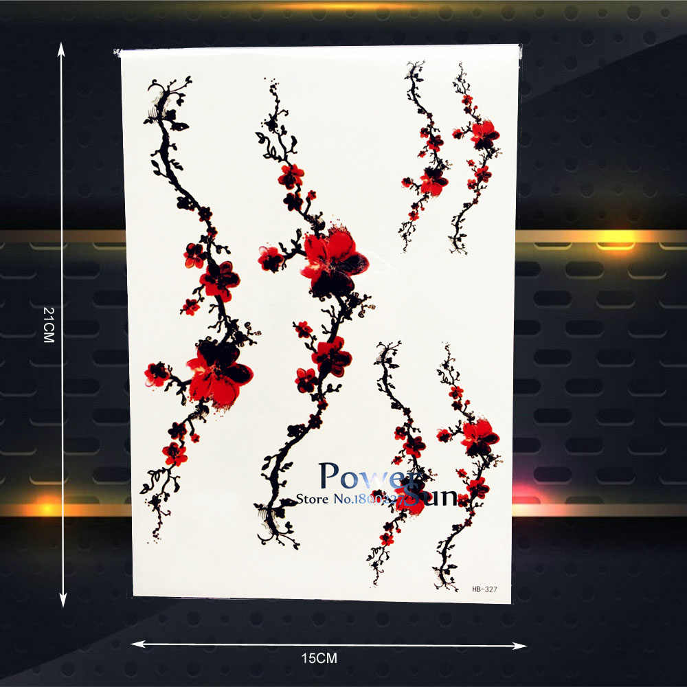 Sexy Plum Blossom Design Temporary Waterproof Tattoo Stickers 21x15CM Women Body Art Painting Tattoo Sakura Sticker