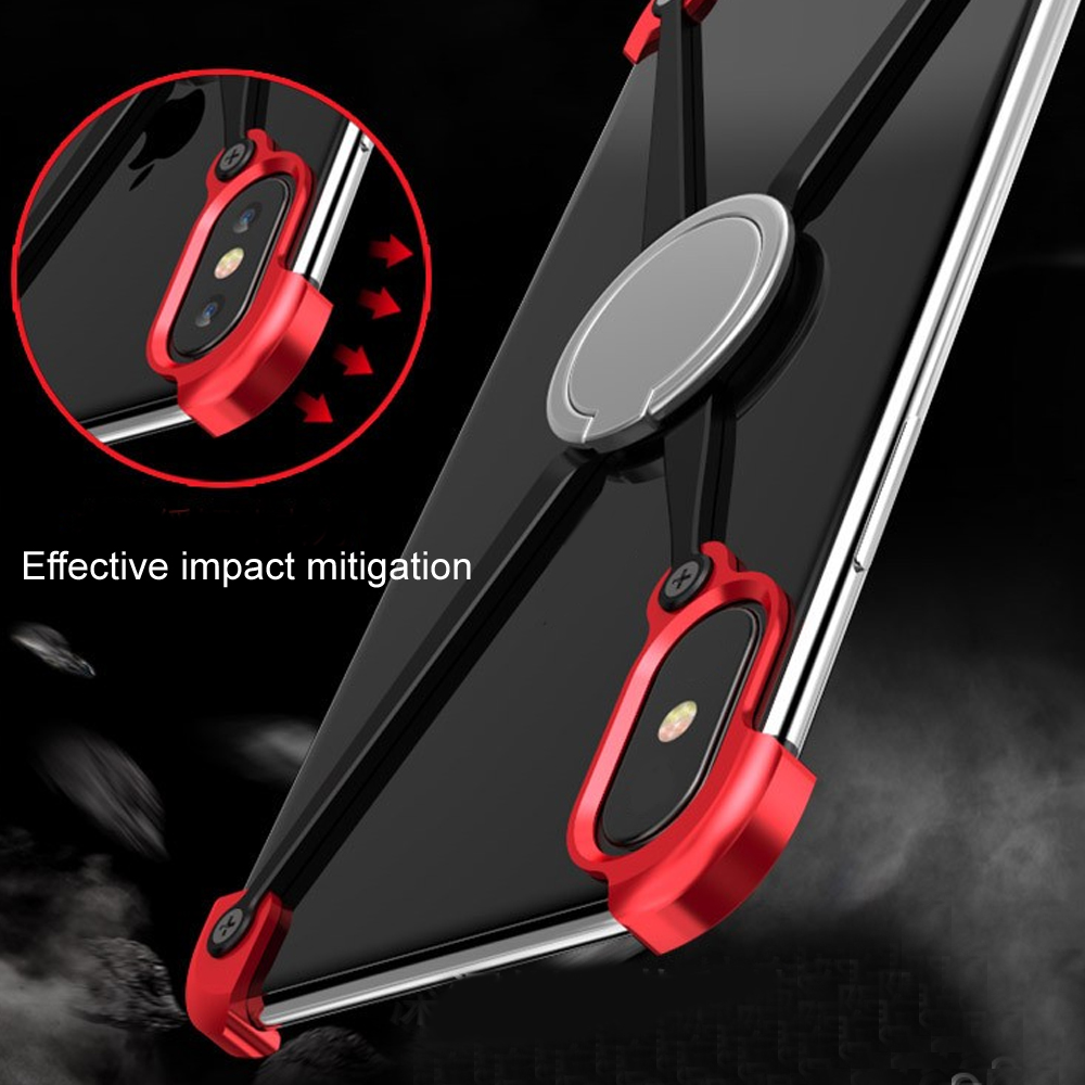 Bumper Case for iPhone X Slim Aluminum Metal X Frame Phone Bumpers with Ring Holder Screw in Phone Bumpers from Cellphones Telecommunications