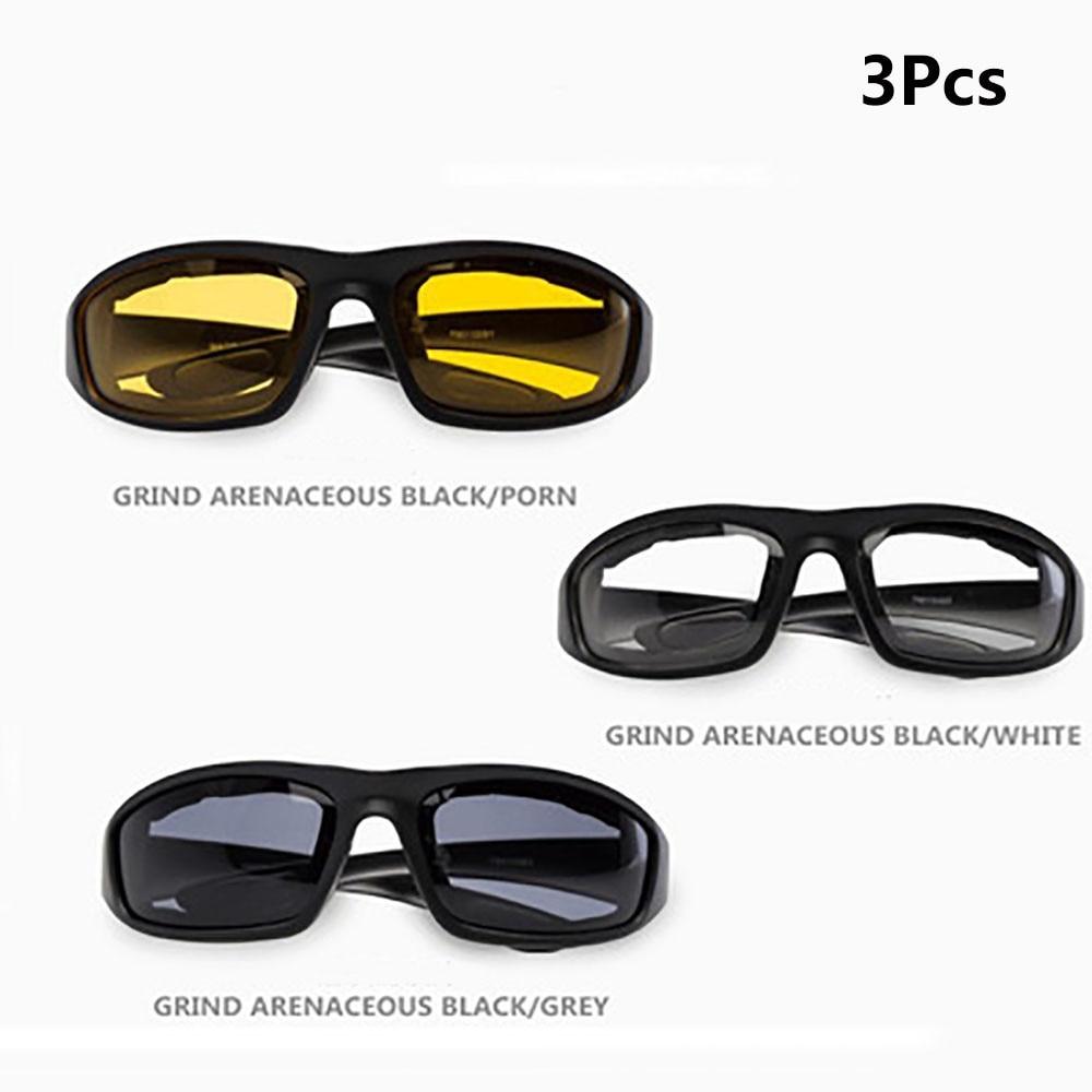 2018 HOT 3 Pcs Motorcycle Riding Glasses Smoke Clear Yellow free shipping #2A17