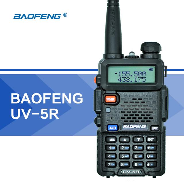 Baofeng uv-5r uv5r walkie talkie uhf vhf dual band cb Lanterna Dupla Afixação 128CH VOX FM Transceptor de rádio para a Caça rádio