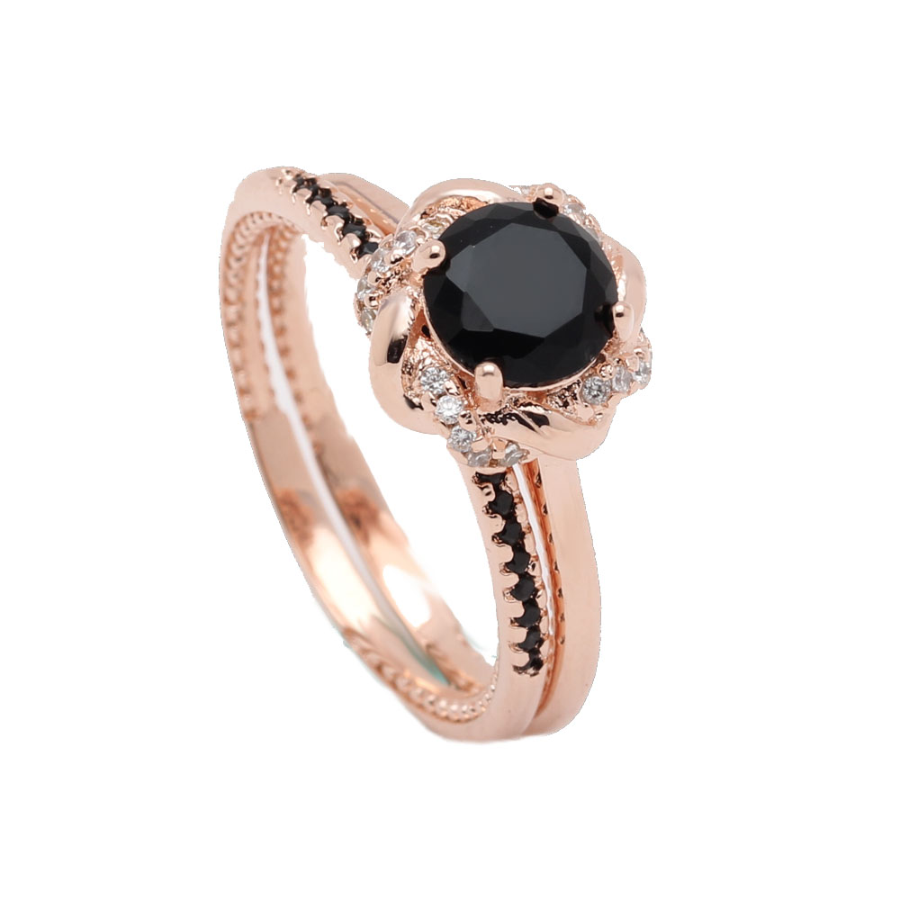 Engagement Rings On Sale Newcastle: Hot Sale New Design Rose Gold Color Black AAA Cz Finger