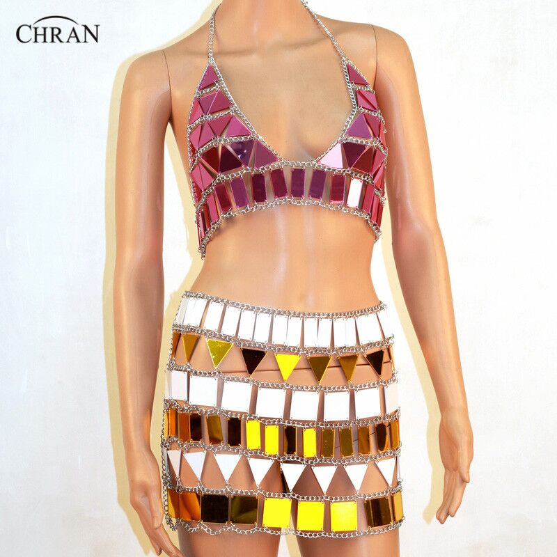 CHRAN Charm Women Sexy Bra Harness Halter Swimwear Mirror Perspex Crop Top Summer Beach Bikini Bralette Skirt Body Jewelry