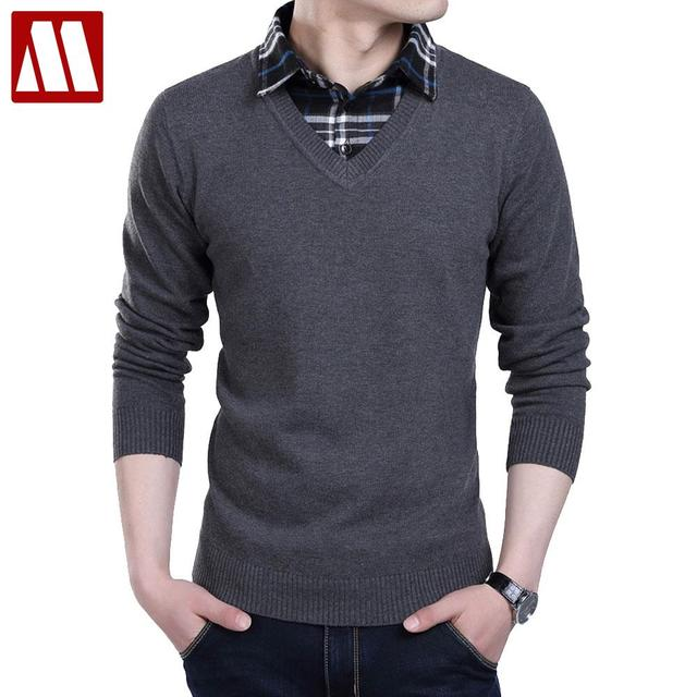 1621f49a86576 New winter 2016 Men sweater Fake two pieces pullover men cotton sweater  Slim Fit V-
