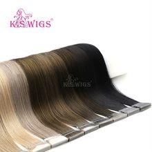 Ks парики 100 шт/упак искусственная кожа плетеные волосы двухсторонняя