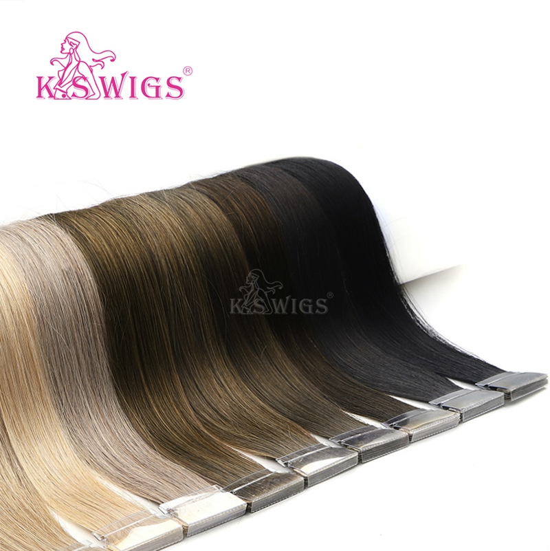 K.S WIGS 100pcs/pack PU Skin Weft Hair Double Drawn Hand Tied Tape In Human Extensions 16'' 20'' 24''