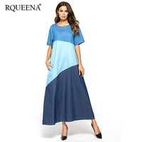 Rqueena Women's Summer T Shirt Dress Womens Long T shirt Dress With Pockets 2019 A Line Denim Tshirt Dresses For Women DR005