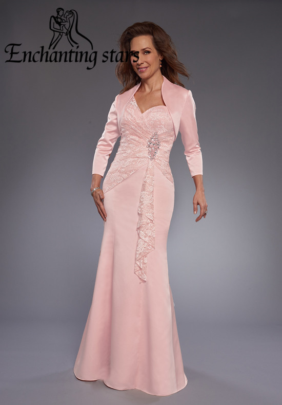 Summer 2017 Pink Mother Bride Pant Suits Jacket Long Sleeves Sexy Lace Appliques Mermaid Women Formal Evening Gowns - Molibridal_ Store store