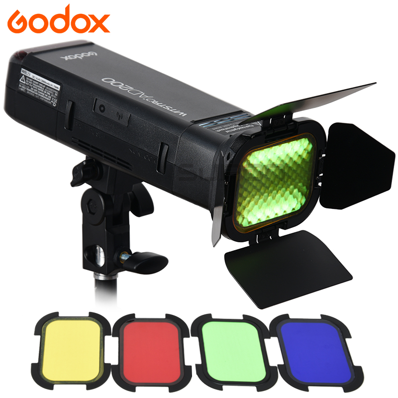 Godox Flash AD200 2.4G TTL Poche Flash Speedlite 1/8000 HSS Monolight pour Nikon Canon Sony + AD-S11 Couleur Filtre gel Pack