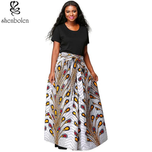 9058277998 Shenbolen Summer New Fashion Women African Print Long Skirt Ankara Skirt  Dashiki High Waist A Line Maxi Long