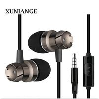 XUNIANG metal in-ear headphones turbo subwoofer with wheat line control mobile phone computer MP3 universal headset spot