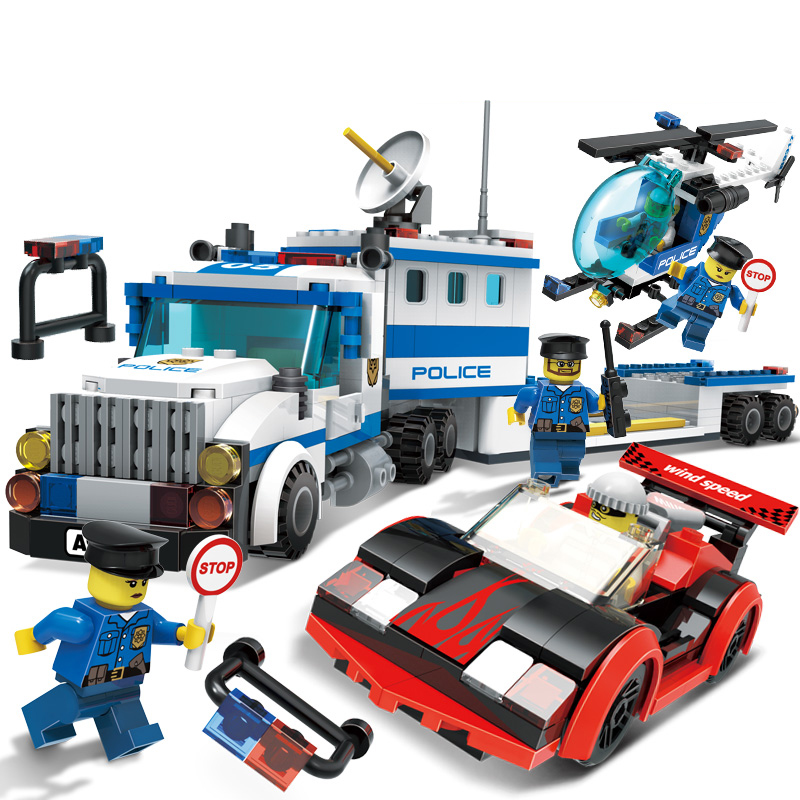 442Pcs City Police Station Building Blocks Bricks Educational Helicopter Toys and Birthday Gift Cars Toy Diy bus Brinquedos kazi 6726 police station building blocks helicopter boat model bricks toys compatible famous brand brinquedos birthday gift