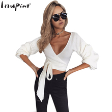 INUPIAT 2017 New Autumn Winter Sweaters for Ladies Sexy Deep V-Neck 3/4 Sleeve Bowtie Knot Short Style Pullover Sweater Women