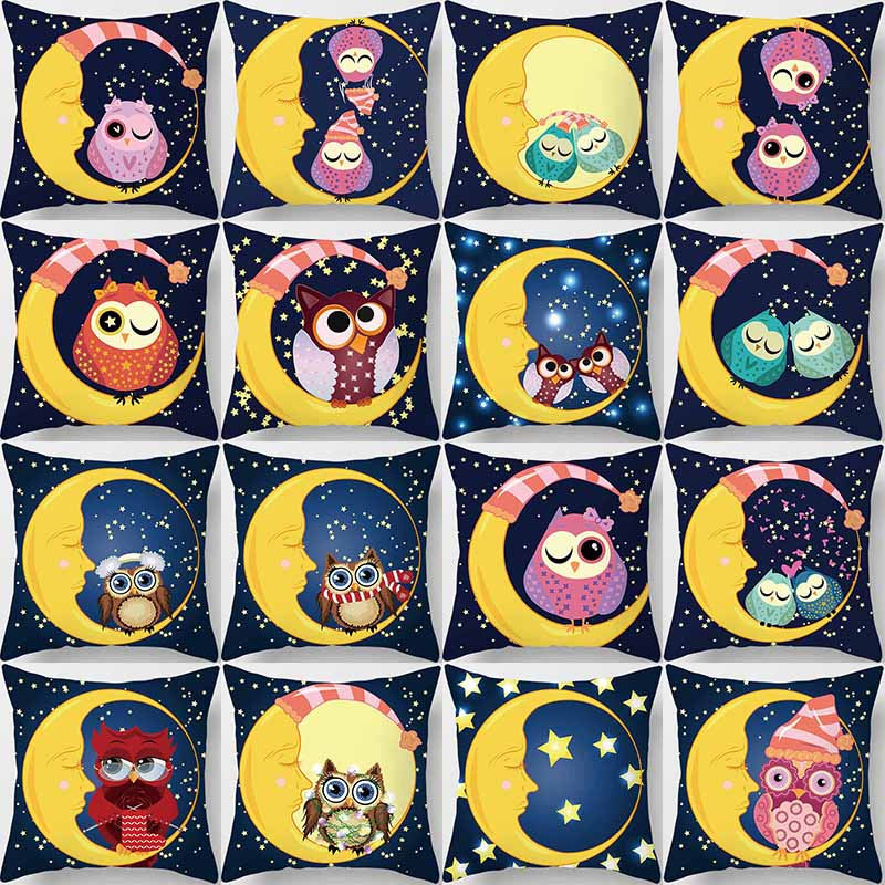 Hot sale cartoon cute animal owl sit on the moon women men square Pillow case boys girls weeping pillow cover size 45*45cm