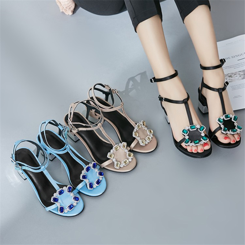 Ouqinvshen Crystal Summer Sandals Black Blue Fashion Square Heel Silk Buckle Strap High Heels Peep Toe High Heels Sandals Women