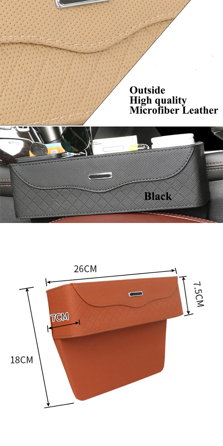 Microfiber PU Leather Black Car Passenger Seat Gap Leakproof Coins Box Organizer