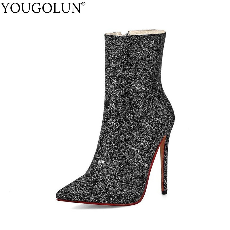 YOUGOLUN Women Bling Ankle Boots New Spring Autumn Thin Heel 12 cm High Heels Ladies Black White Gold Pointed toe Shoes #A-024 women ankle boots 2016 round toe autumn shoes booties lace up black and white ladies short 2017 flat fashion female new chinese