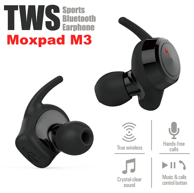 цена Moxpad M3 Wireless Earphones Dynamic Dual Drivers Bluetooth 4.1 TWS Earbuds Stereo Music Headsets Hand Free with Retail gift Box