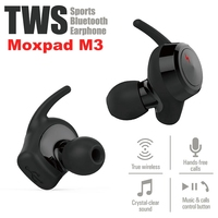 Moxpad M3 Wireless Earphones Dynamic Dual Drivers Bluetooth 4.1 TWS Earbuds Stereo Music Headsets Hand Free with Retail gift Box