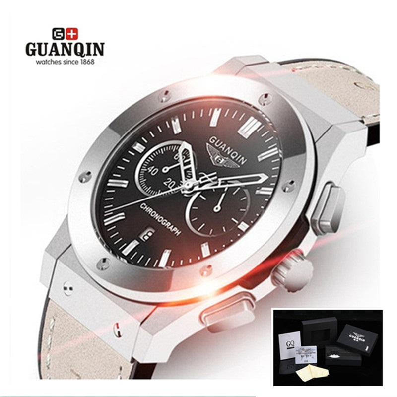 Top Brand Luxury GUANQIN Men Watch Military Sport Men's Casual Quartz Watches Auto Date Rubber Men's Fashion Wristwatches жилет river island river island ri004ewgxz15