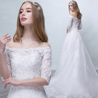 Luxury Lace Wedding Dress Boat Neck Sequined Sweep Train Half Sleeves Beach Bridal Gown Bohemian Wedding Gowns Robe De Mariage