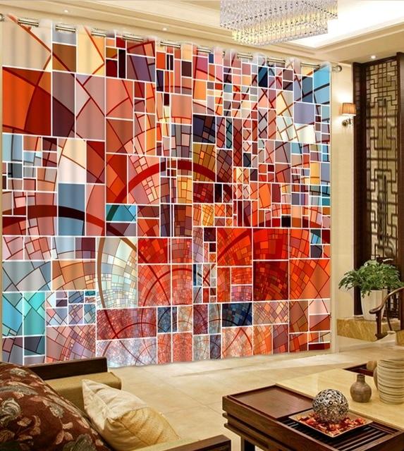 Hause Fenster Vorhang 3D Druck Wohnzimmer Vorhänge Mosaik Box Decor Kinder Zimmer  Vorhänge Vorhänge