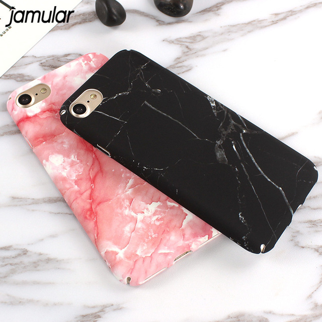 JAMULAR Marble Stone Rock Case For Iphone 8 7 6 6s Plus Black Pink Matte Phone