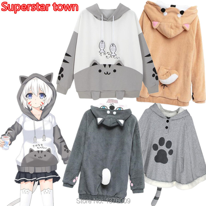 Women Girls Hoodies Japan Kawaii Shiba Inu Doge Husky Pullover Hooded Neko Atsume Cat Meow Hoodie Coat Christmas Drop Shipping
