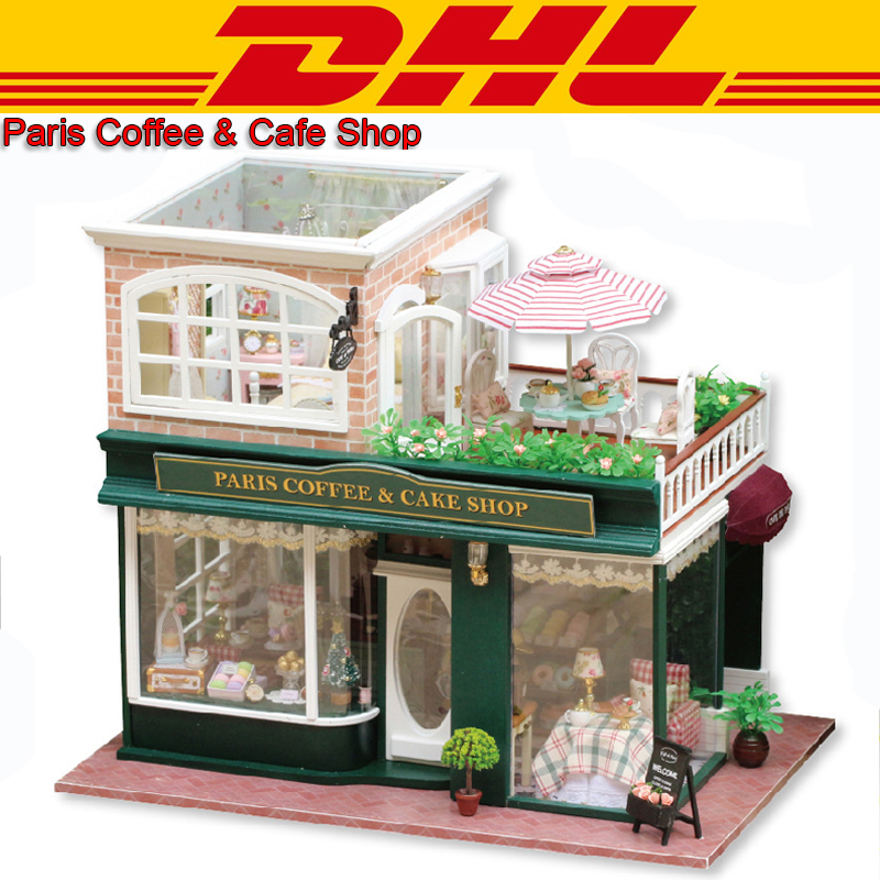 LED 3D Wooden Model Miniatures Double Layer Large Paris Cafe Shop Doll House Dust Cover Furniture DIY Toy For Children Music Box