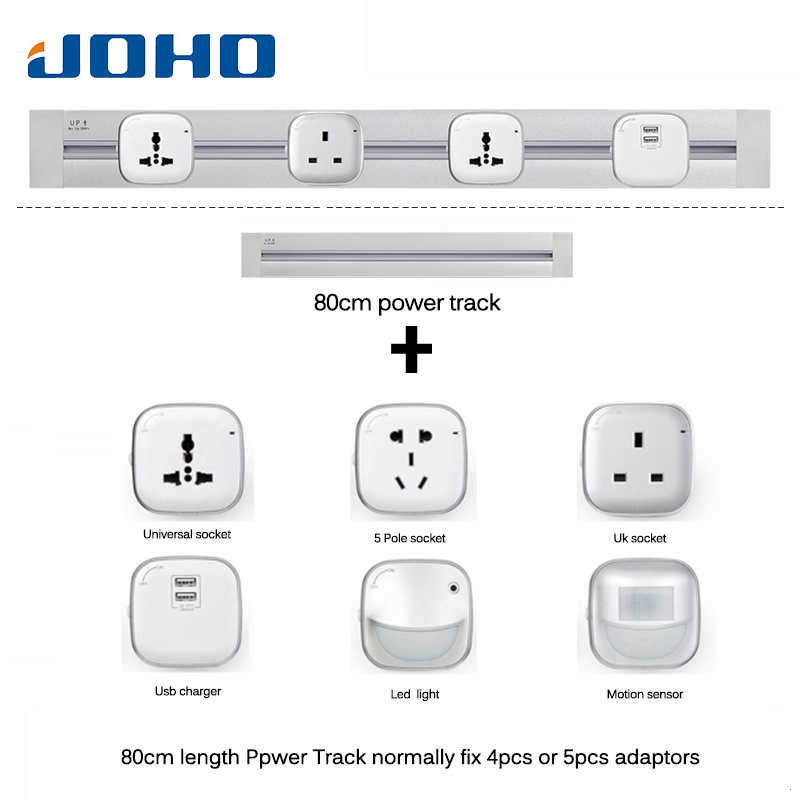 JOHO Factory Socketbar 8000W 80cm Tomada Usb Wall Socket Eu Wall Plug 2 USB Ports Office Kitchen Plug Sockets For Living Room