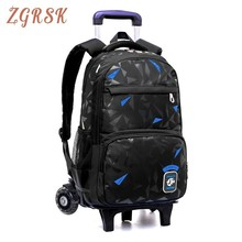 Grades 4-9 Kids Trolley Schoolbag Book Bags Boys Girls Backpack Waterproof Removable Children School Bags With 2/6 Wheels Stairs james baldwin school reading by grades first eighth year book 6